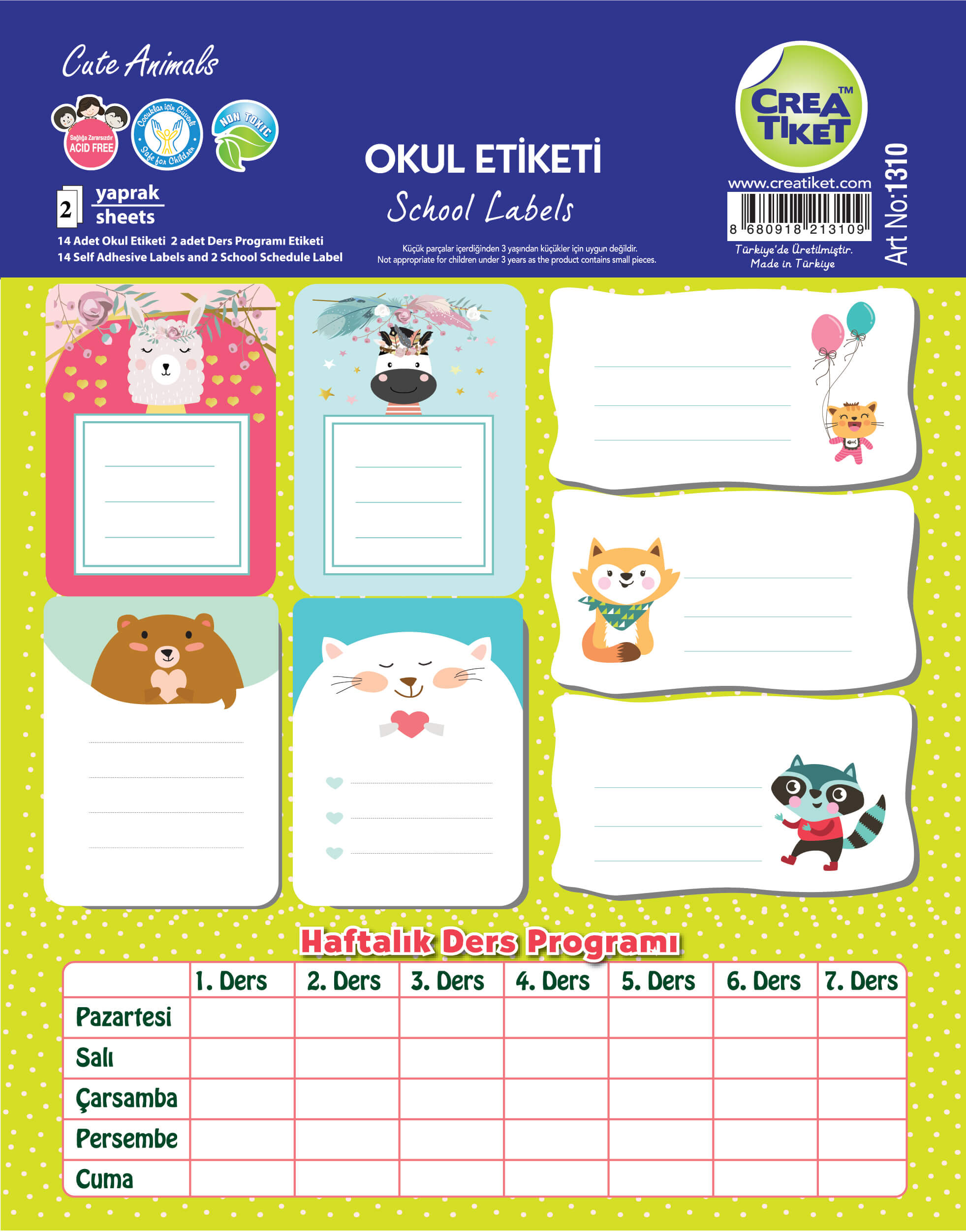 Art No : 1310 | Yaldızlı Defter Etiketi Cute Animals